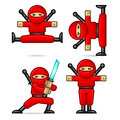 Ninja in different poses composition format eps Royalty Free Stock Images