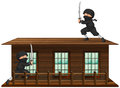 Ninja with sword on the roof Royalty Free Stock Photo