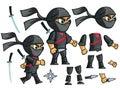 Ninja Vector. Animated Character Creation Set.
