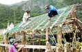 Nipa hut bayanihan construction Stock Images
