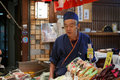 Nishiki food market kyoto japan salesman invite people of a store in in central popular for tourists and locals alike photo taken Stock Photos