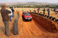 Nissan hardbody on x course bafokeng – may red going through obstacle at new track opening event may at bafokeng rustenburg Royalty Free Stock Photos