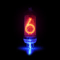Nixie tube indicator the numbers of retro style. Digit 6 Royalty Free Stock Photo