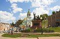 Nizhniy novgorod russia orthodox church of john the baptist and monument to minin and pozharskiy in Royalty Free Stock Photography