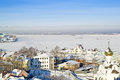 Nizhny novgorod city landscape houses and buildings of against the frozen river volga Stock Image