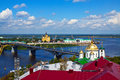 Nizhny novgorod with kanavinsky bridge through oka river russia Royalty Free Stock Photography