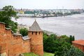 Nizhny Novgorod Kremlin and port Royalty Free Stock Photo