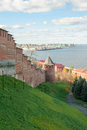 Nizhny novgorod kremlin on volga river Stock Photo