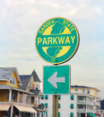 Nj parkway sign or the garden state is the longest and the busiest toll highway in the state Royalty Free Stock Photo