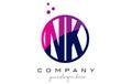 NK N K Circle Letter Logo Desi...