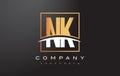 NK N K Golden Letter Logo Desi...