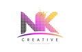 NK N K Letter Logo Design With...