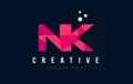 NK N K Letter Logo With Purple...