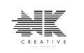 NK N K Zebra Letter Logo Desig...