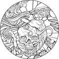 Mermaid and skull
