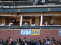 Nnouncer Jon Miller sits in the KNBR booth Stock Image