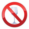 No alcohol sign with glass prohibited symbols in photo realistic style Stock Photos