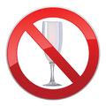 No alcohol sign with glass prohibited symbols in photo realistic style Stock Image