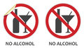 No alcohol sign signs in two styles depicting banned activities Stock Images
