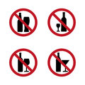 No alcohol Signs silhouette with bottle and glass