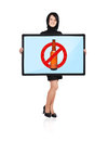 No alcohol symbol woman holding plasma panel with Royalty Free Stock Image