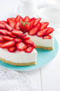 No baked strawberry cheesecake on white background Royalty Free Stock Photo