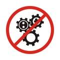 No, Ban or Stop signs. Cogwheel gear icons. Mechanism symbol. We