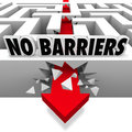 No barriers arrow smashes through maze walls freedom an the of a or labyrinth below the words to illustrate and liberation from Royalty Free Stock Photo