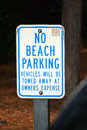 No beach parking sign a blue and white that reads Stock Photography