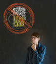 No beer alcohol man on blackboard background alcoholic business student or teacher Stock Photo