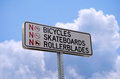No bicycles skateboards or rollerblades sign Stock Image