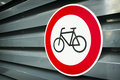No bikes sign at an fence Royalty Free Stock Photo