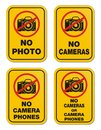 No cameras or camera phones signs suitable for warning sign Royalty Free Stock Photography