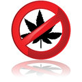 No cannabis traffic sign showing a leaf of the plant inside a prohibited sign Stock Photography