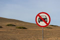 No car allowed forbidden sign near to a mountain Stock Images
