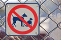 No cats dogs permitted allowed sign on fence a bold red black and white colored warning people not to bring their pet cat or dog Royalty Free Stock Photography