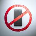No cell phone fabric sign Royalty Free Stock Photo