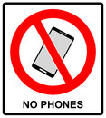 No cell phone sign. Mobile phone ringer volume mute sign. No smartphone allowed icon. No Calling label on white Royalty Free Stock Photo