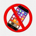 No cell phone sign on transparent background Royalty Free Stock Photo