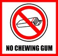 No chewing gum. Prohibition sign Royalty Free Stock Photo