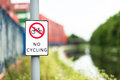 No cycling sign next to canal path uk Royalty Free Stock Photos