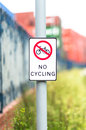 No cycling sign outdoors next to canal path uk Stock Image