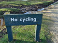No cycling sign on side of road Stock Photography