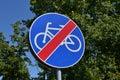 No cycling street sign