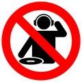 No dj zone warning sign Stock Images