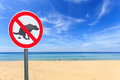 No dog pooping sign on the beach round Royalty Free Stock Image
