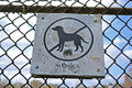 No dogs as warning sign on metal grid environment details focus center Royalty Free Stock Image