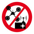 No drone symbol with control on white backgroundon white background