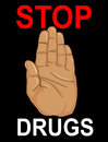 No Drugs. The hand shows a gesture of stop. Vector. Poster on a