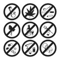 No Drugs icons set, vector illustration.